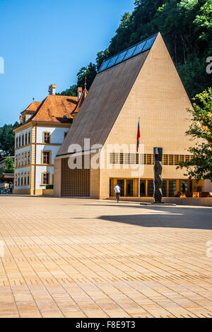 The house of parliament in Vaduz in Liechtenstein, Europe - Stock Photo