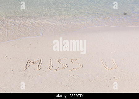 Miss you written out in wet sand on a tropical beach - Stock Photo
