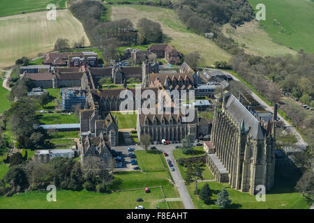 An aerial view of Lancing College, an Independent School in West Sussex - Stock Photo