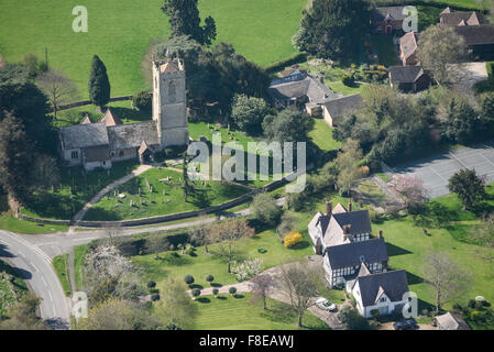 An aerial view of the area around St Peters Church in the Worcestershire village of Little Comberton - Stock Photo