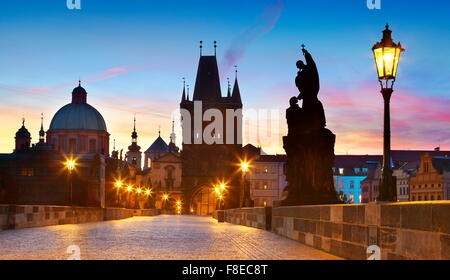 Charles Bridge skyline, Prague Old Town city, Czech Republic, UNESCO - Stock Photo