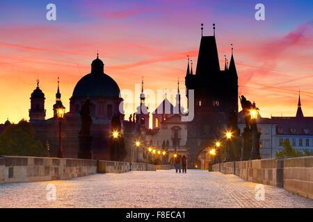 Prague Old Town skyline - Charles Bridge, Czech Republic, UNESCO - Stock Photo