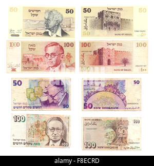 Obsolete Israeli bank notes 50 and 100 Old Shekel (1978 and 1979) and New Shekel (1992 and 1995) notes - Stock Photo