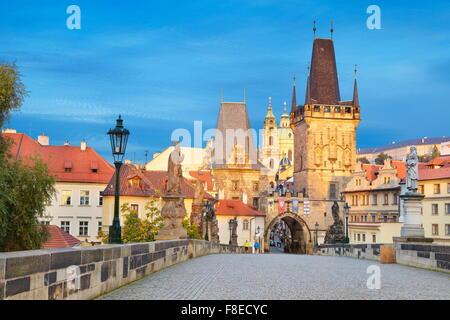 Charles Bridge View towards Mala Strana, Prague, Czech Republic, Europe - Stock Photo