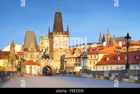 Prague Old Town, Charles Bridge, view towards Mala Strana, Czech Republic, UNESCO - Stock Photo