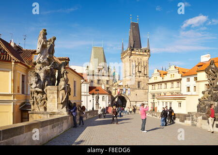 Tourists on the Charles Bridge, Prague Old Town, Czech Republic, UNESCO - Stock Photo