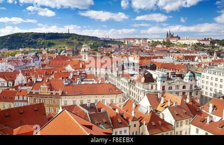 Ariel view of the Prague Old Town, Czech Republic, UNESCO - Stock Photo