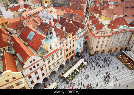 Ariel view of the Old Town Square, Prague, Czech Republic, UNESCO - Stock Photo