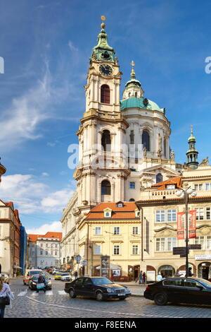 View of St. Nicholas Church, Mala Strana, Prague, Czech Republic, Europe - Stock Photo