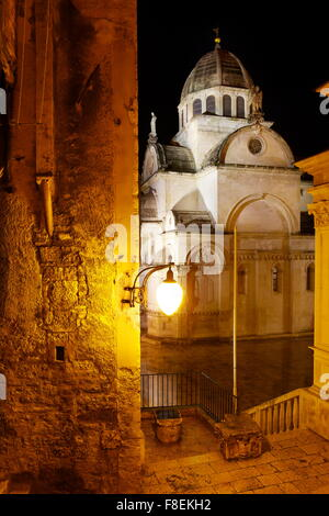 Sibenik, Croatia - The Cathedral of St.James by night - Stock Photo