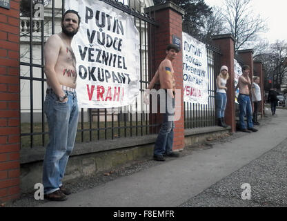 Prague, Czech Republic. 25th Feb, 2015. Several activists with banners against Russian president Vladimir Putin - Stock Photo