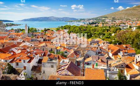 Aerial view of Trogir Old Town, Croatia - Stock Photo