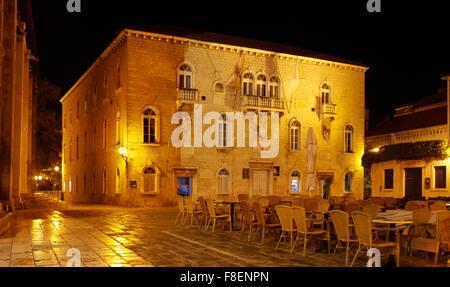 Trogir, Croatia, The town Hall in the Trogir by night