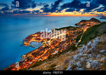 Dubrovnik -  view at Old Town City by night, Croatia - Stock Photo