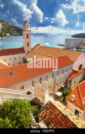 Dubrovnik Old Town cityscape, view from Old Town Walls, Croatia - Stock Photo