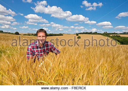 Portrait smiling farmer in sunny rural barley crop field in summer - Stock Photo