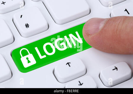 Login submit with password registration online on internet computer - Stock Photo