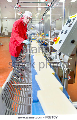 Quality control worker checking cheese on production line in processing plant - Stock Photo