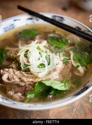 A bowl of beef brisket pho, a popular Vietnamese noodle soup. - Stock Photo