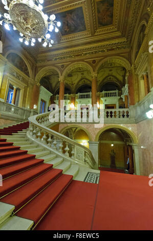 The beautiful staircase in the Hungarian State Opera House in Budapest, Hungary. - Stock Photo