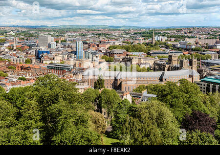 View from Brandon Hill over the city center of Bristol, seen from the Cabot Tower, Somerset, England, UK - Stock Photo