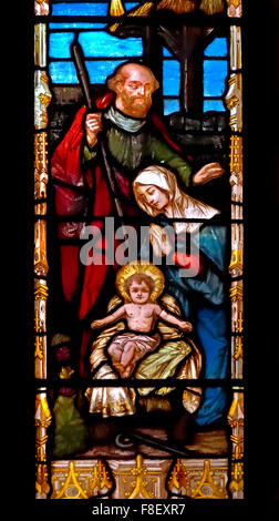 London, England, UK. Guild Church of St Dunstan in the West, Fleet Street. Stained Glass Window showing Nativity - Stock Photo