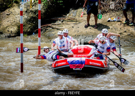 Russian U23 men's team during slalom race category on 2015 World Rafting Championship. - Stock Photo