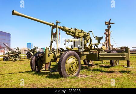 Automatic anti-aircraft gun model 1939 in Togliatti technical museum in sunny day - Stock Photo