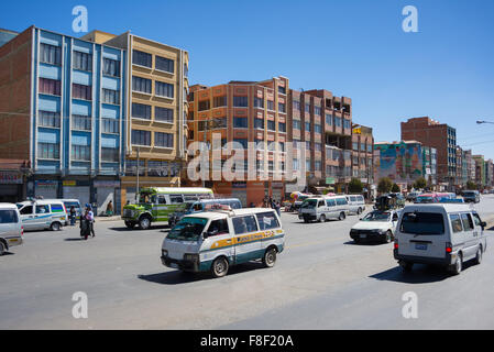 La Paz, Bolivia - August 29, 2015: Ordinary traffic of cars and mini vans during rush hour in La Paz, capital city - Stock Photo