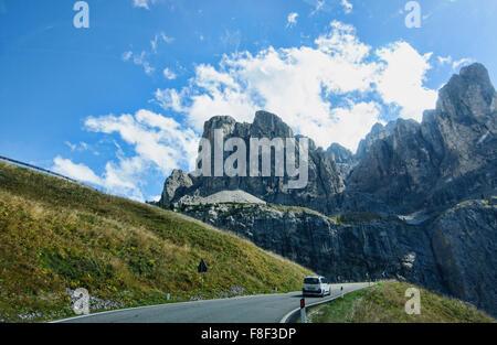 Val Gardena on the way to Ortisei (St. Ulrich), South Tirol, Italy - Stock Photo