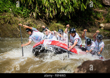 Japan U23 men's team in action in the sprint race category during the 2015 World Rafting Championships. - Stock Photo
