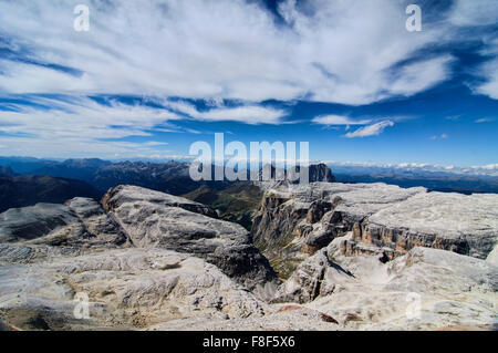 View from the from the top of Piz Boe in the Dolomites, Italy - Stock Photo