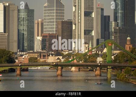 Cityscape with skyline, Financial District and Main, Frankfurt am Main, Hesse, Germany, Europe - Stock Photo