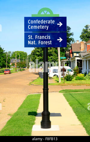 Street sign pointing to the Confederate Cemetery and St. Francis Nat. Forest in Helena Arkansas - Stock Photo