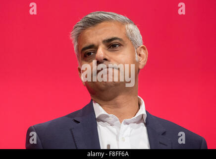 Shadow Secretary of State for Justice and Shadow Lord Chancellor,Sadiq Khan speaks at the Labour party conference - Stock Photo