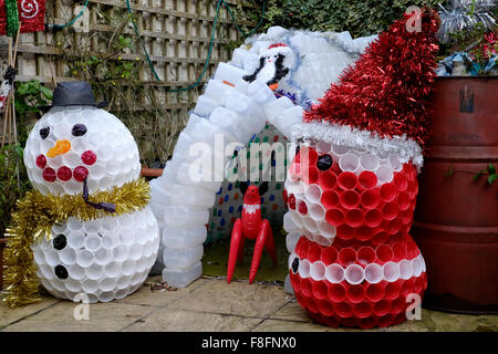 Christmas garden igloo and snowman decorations made from for Snowman made out of cups