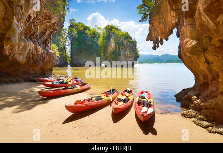Thailand - Krabi province, Phang Nga Bay, canoe trip - Stock Photo