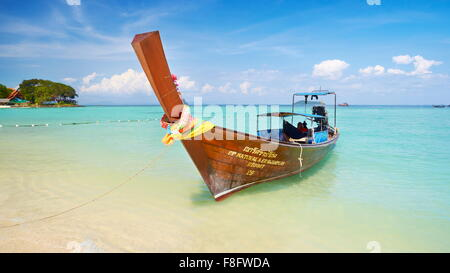 Thailand - Phi Phi Island, Phang Nga Bay, long tail boat - Stock Photo