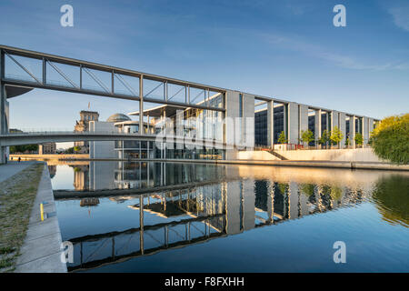 Reichstag and government buildings around river Spree in Berlin , Paul Löbe building, - Stock Photo
