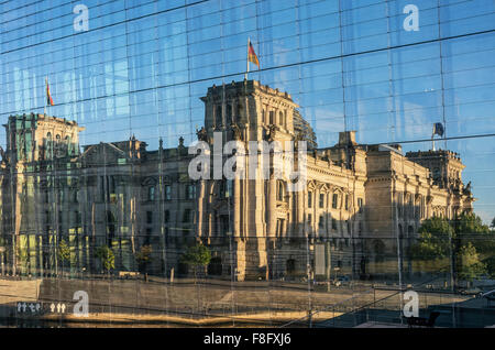 Reichstag and government buildings around river Spree in Berlin , reflection in Marie-Elisabeth-Lueders-Haus - Stock Photo