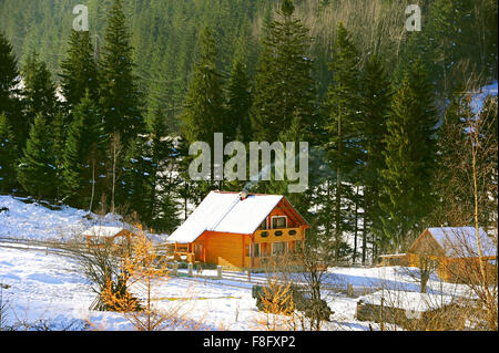 Wooden house in the Carpathians mountains village in the winter - Stock Photo