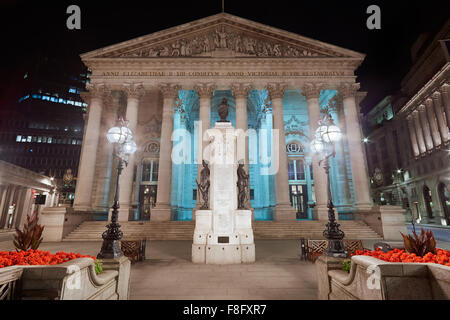 London Royal Exchange, luxury shopping center and square at night - Stock Photo