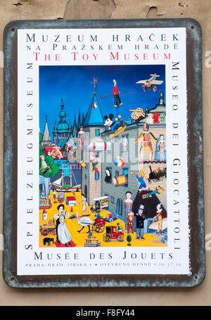 Toy Museum sign in the Golden Lane area, Prague Castle, Czech Republic - Stock Photo