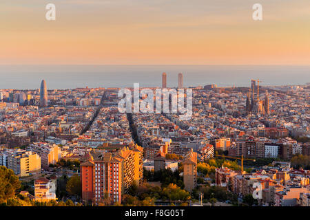 Barcelona skyline in the afternoon at Golden Hour - Stock Photo