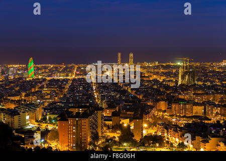 Barcelona skyline by night during Christmas period - Stock Photo