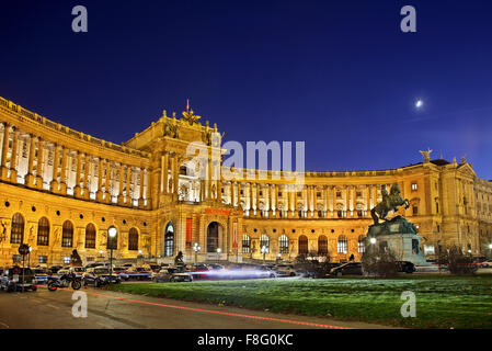 View of Hofburg (Neue Burg wing), the imperial palace of the Habsburgs, from Michaelerplatz Vienna, Austria - Stock Photo
