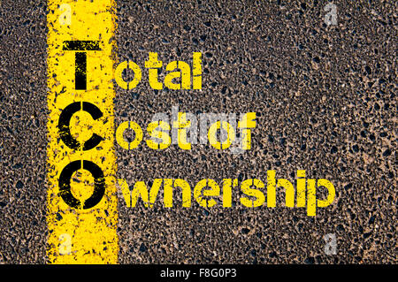 Concept image of Accounting Business Acronym TCO Total Cost of Ownership written over road marking yellow paint - Stock Photo