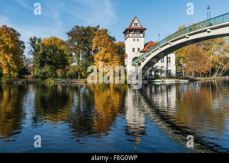 Island of Youth, autumn,  Insel der Jugend,  Treptow, Spree, Berlin - Stock Photo