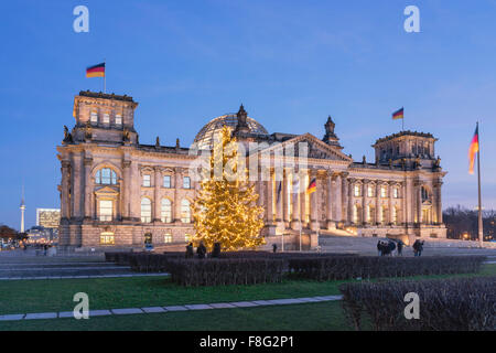Reichstag, christmas tree, Berlin, Germany - Stock Photo