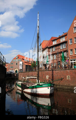 Old ship WILLI im in the historic harbour of Stade, Lower Saxony, Germany, Europe - Stock Photo
